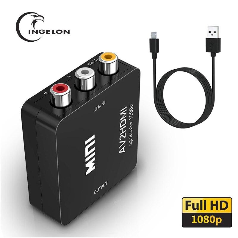 GANA RCA Para HDMI AV Para HDMI 1080P Mini Composite RCA CVBS AV Para HDMI Conversor de Áudio e Vídeo Adaptador compatível com PAL NTSC SECAM M N