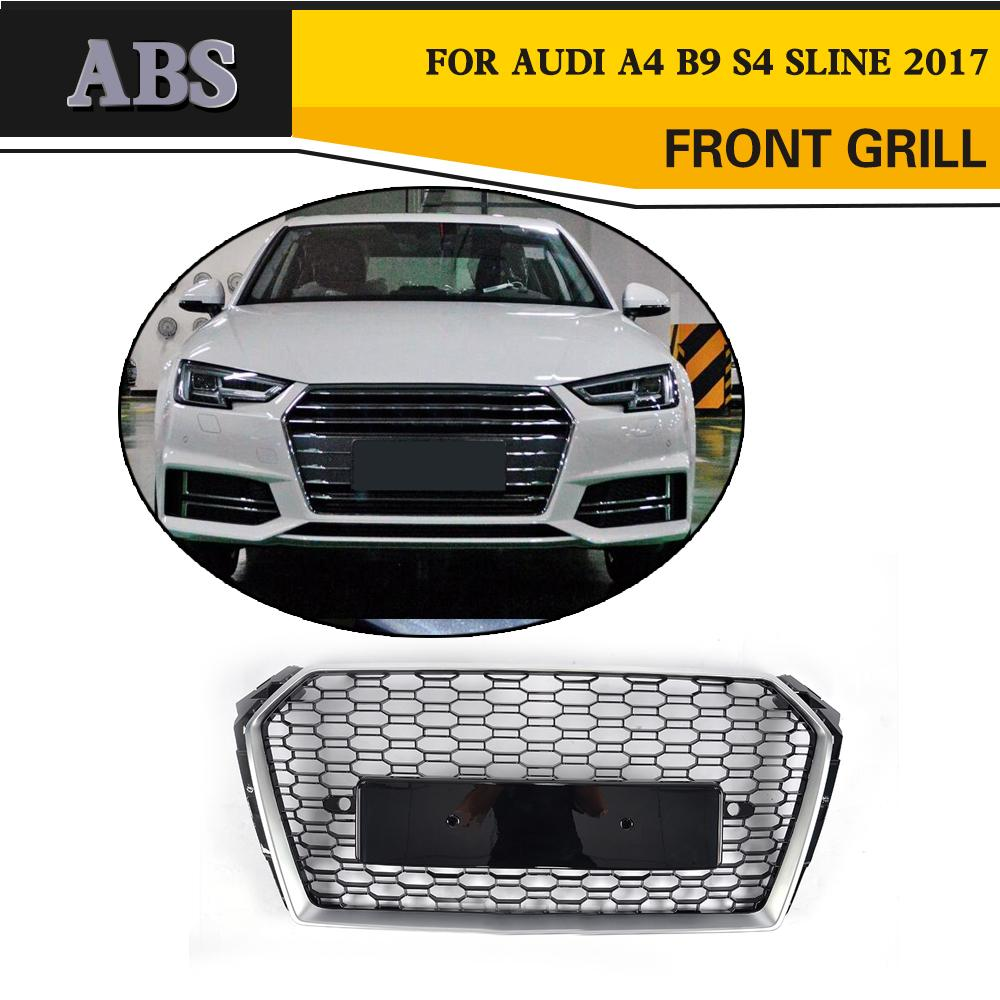 Abs Car Front Bumper Grille Mesh Grill Badgeless For Audi A4 S4