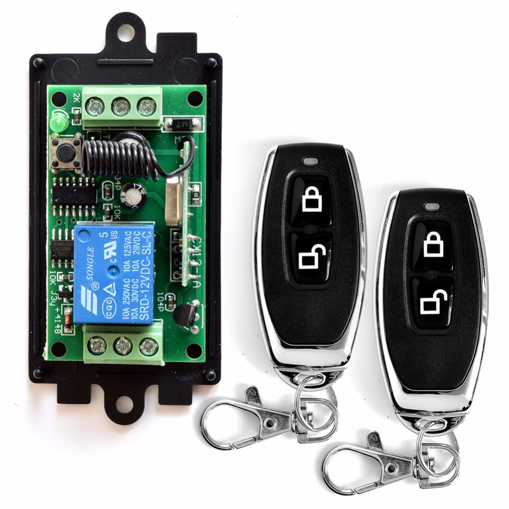 SMARSECUR DC 12V 1 CH RF Wireless Remote Control Switch System,315MHZ Transmitter+Receiver Latched dc12v rf wireless switch wireless remote control system1transmitter 6receiver10a 1ch toggle momentary latched learning code