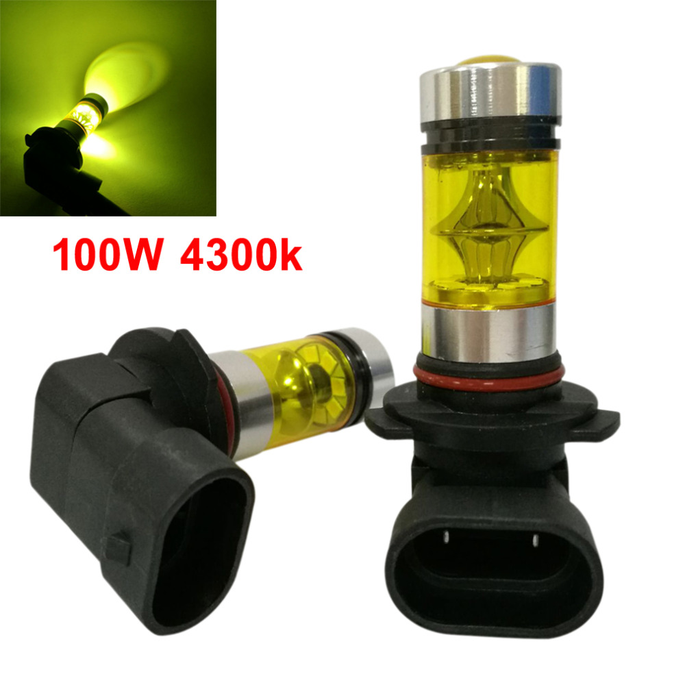 2pcs! 9006 HB4 4300K Yellow LED Fog Driving Light Lamp High Power 100W Auto Car Daytime Running Light DRL Bulb 9005 hb3 9006 hb4 7 5w high power cob led bulb car auto light source projector drl fog headlight lamp white yellow