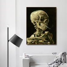 Head of a skeleton  by Von Gogh Poster Print Canvas Painting Calligraphy Home Decor Wall Art Pictures for Living Room Bedroom