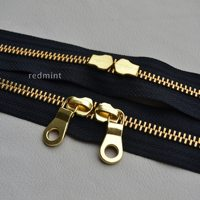 5 Gold And Copper Double Tail Closed Black YKK Metal Zipper Leather Bag For