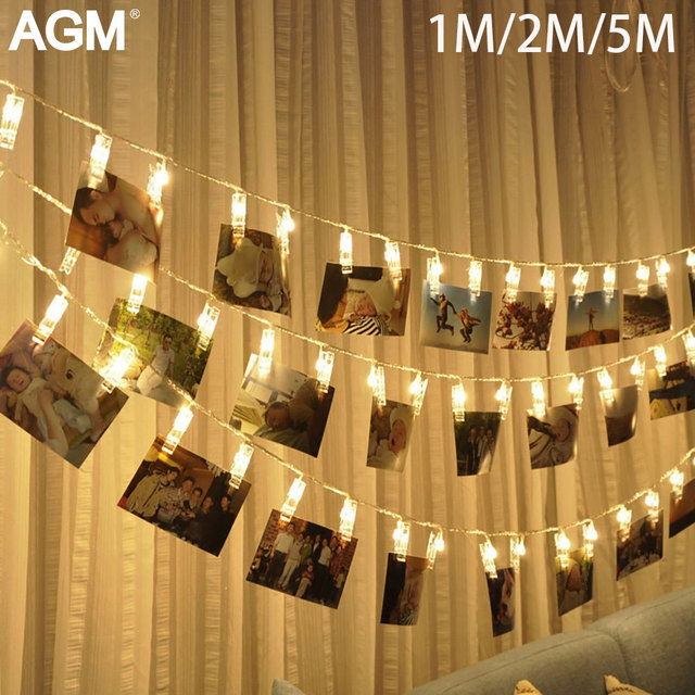10 20 40 Led Garland Card Photo Clip String Fairy Lights Battery Operated Christmas Garlands Wedding New Year Decoration 30