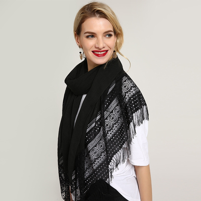 Luxury Lace plain hijab scarf emboridery edges shawl fashion foulard Muslim lace scarfs pashmina bandana scarves 10pcs/lot