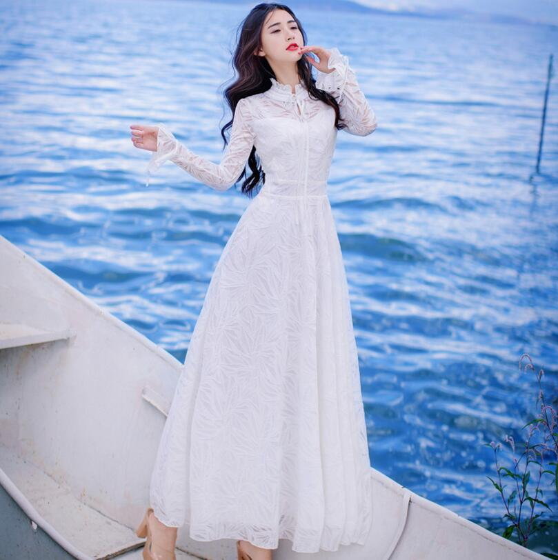2018 Spring New Ladies' Flare Sleeve Embroidered Lace Hollow Out Dress High Waist Long Robe Vestidos s1910