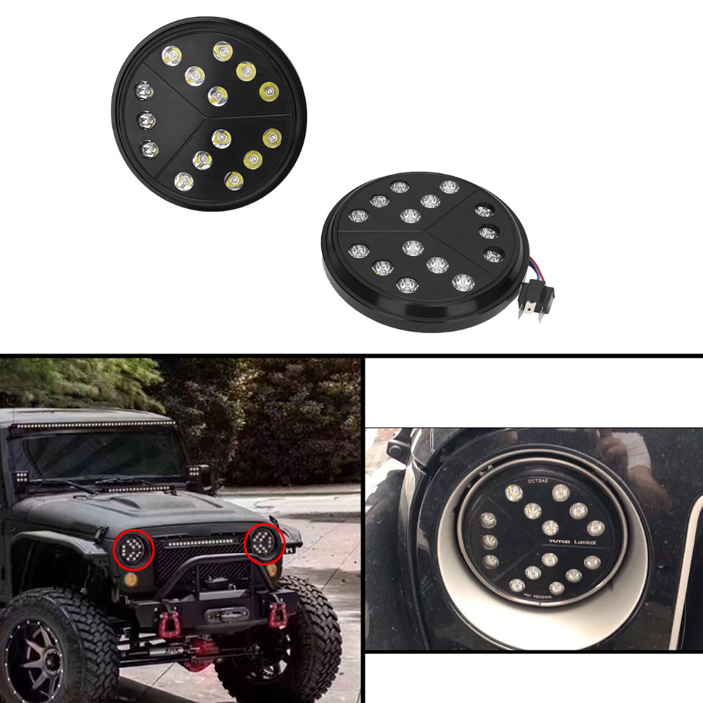 2pcs For Jeep Headlights For Jeep Wrangler JK TJ Unlimited Front Head Lamp with H4 H13 Adatper 80W 7 Round High Low Beam MBG043 2pcs 7 inch round led headlights angle eyes headlamp head light for jeep wrangler jk tj cj 8 scrambler high low beam