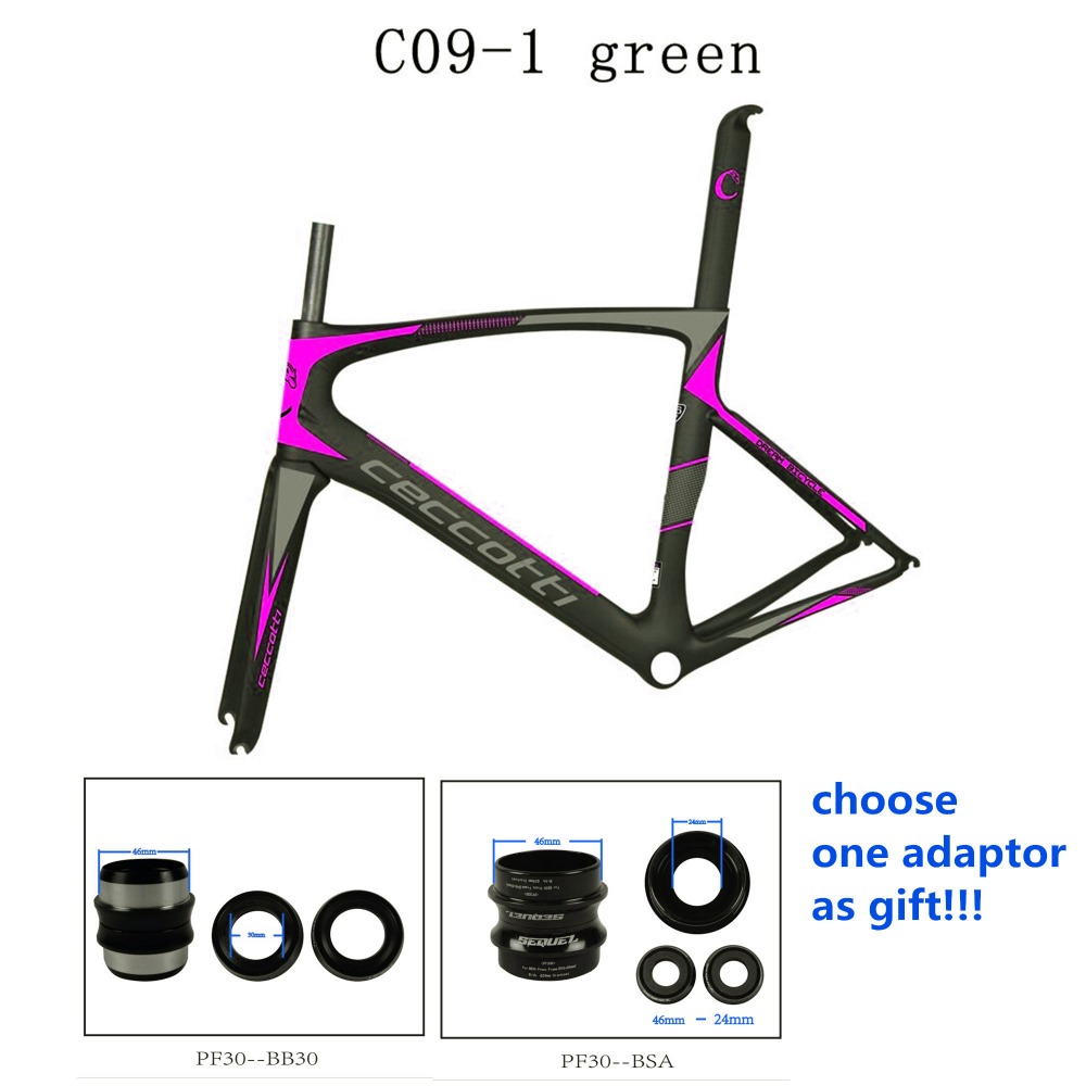 Nice pink color carbon frame road frame+fork+seatpost+clamp+headset+adaptor UD/1K frame carbon road 2 years warranty custom bike 2018 winow aero road carbon bike frame china oem full carbon aero frame with fork seatpost clamp headset more color
