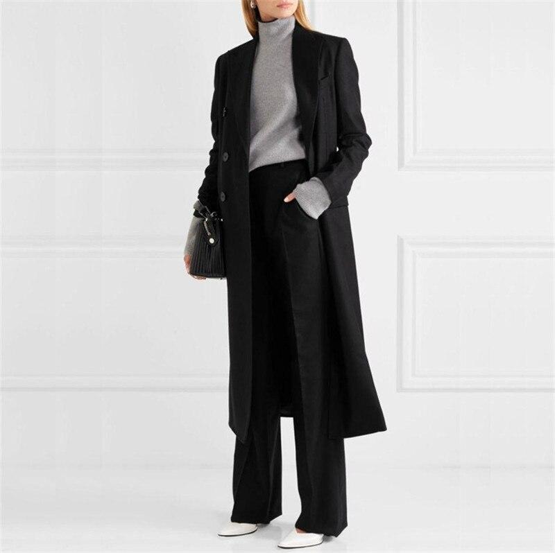 Long 2017 Manteaux Vestes Femmes À Longues Ultra Manches Cachemire Nouvelle Outwear Laine Double Mince Breasted Black Mode Femelle Pardessus wfrBqtf