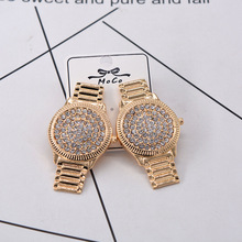 New baroque  fashion metal watch shape earrings women jewelry crystal bohemian trendy rhinestone
