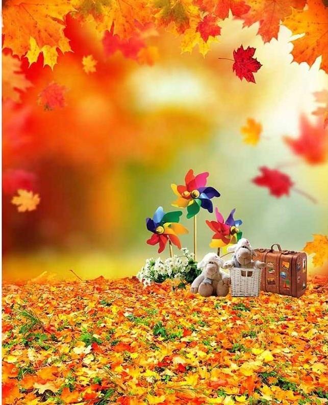 cute fall autumn leaves photo backdrop vinyl cloth high quality