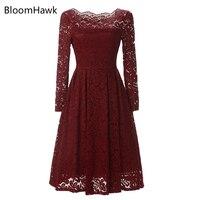 BloomHawk Elegant Lace Crochet Flower Vintage Women Summer Dress Plus Size S 3XL Feminino Party Vestidos