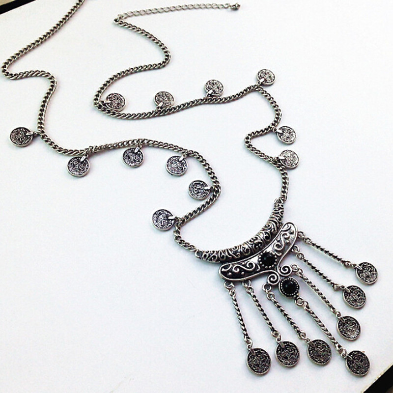 Resin Stone Retro Coins Tassel Link Necklace