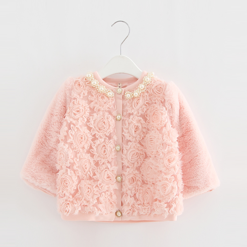 Baby Toddler Faux Fur Coat Girls Winter Warm Jacket Snowsuit Children outerwear full of Flowers Pearls Collar Kids Clothes 0-2Y(China)