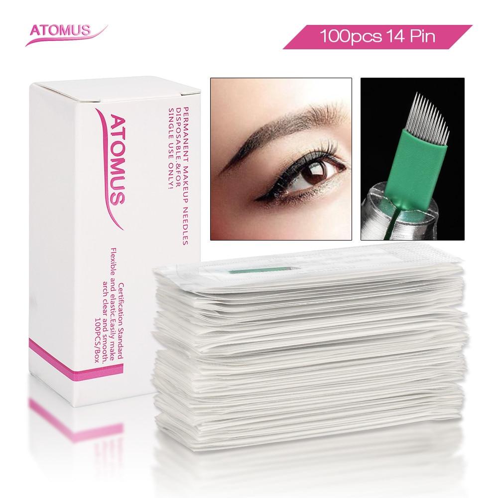 100pcs Laminas Tebori Microblading Sobrancelhas 14 Flex Green Agujas Microblading Needles 14 Permanent  Makeup Eyebrow Blade