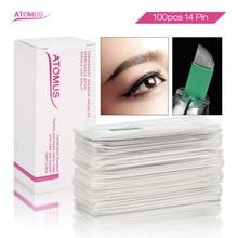 100pcs Laminas Tebori Microblading Sobrancelhas 14 Flex Green Agujas Needles Permanent  Makeup Eyebrow Blade