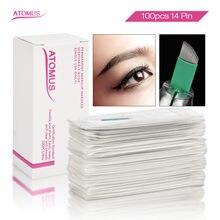 Lâminas tebor 100 pçs microblading sobrancelhas 14 flex agujas microblading lâmina de sobrancelha permanente maquiagem