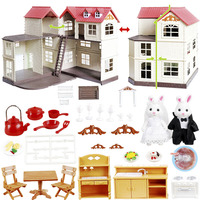 2019HOT match for sylvanian families 1:12 dollhouse Large villa Simulation doll Furniture vegetable garden toy collectible Gift