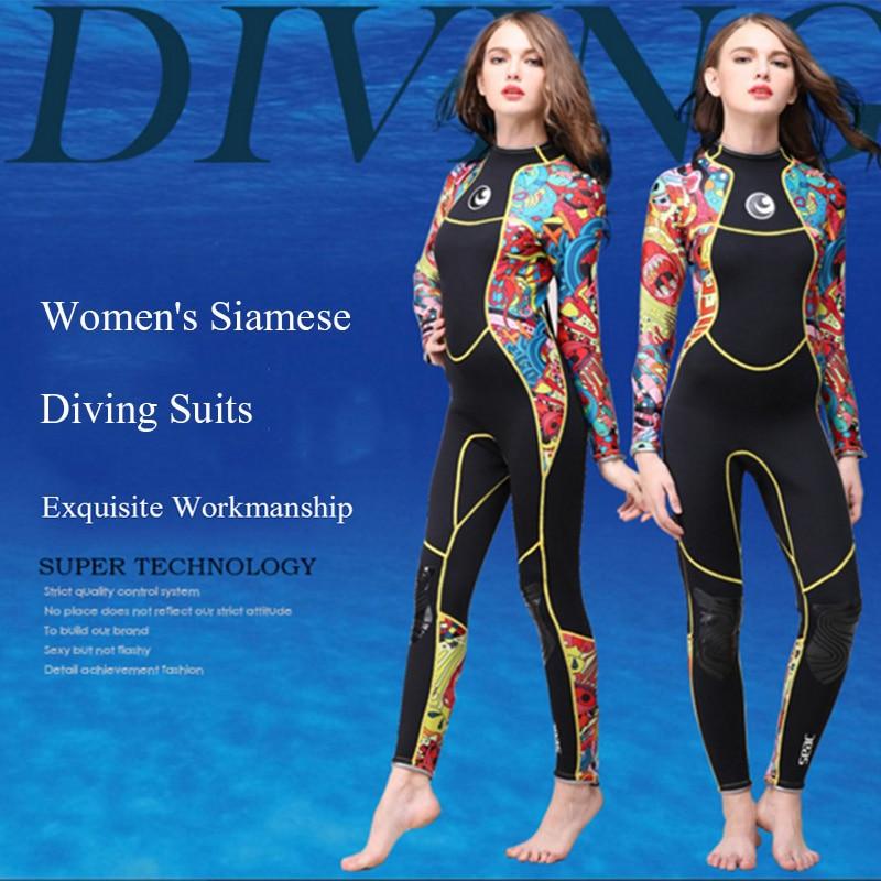 2018 New Scuba Diving Suit Women 3mm Neoprene Snorkel Equipment Wet Jump Suits Water Sports Jumpsuit Swimwear Wetsuit Rash Guard