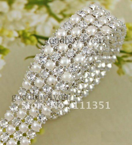 P4 1 Yard 4 Rows Diamond A Rhinestone And Pearl Wedding