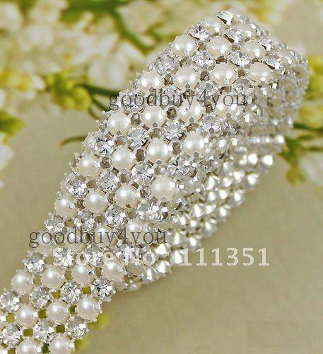 P4 1 Yard 4 Rows Diamond A Rhinestone And Pearl Wedding