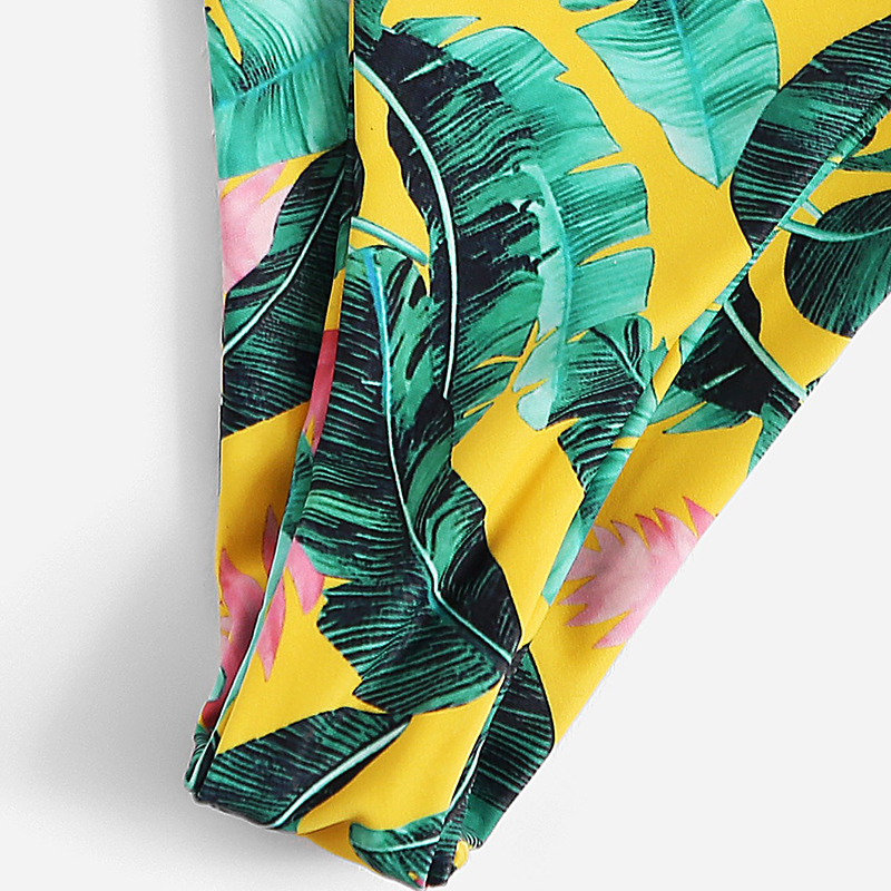 Romwe Sport Tropical Leaf Frill Triangle Top With Tanga Bottoms Bikini Set Women Plunge Neck Beach Vacation Sexy Thong Swimsuit 7