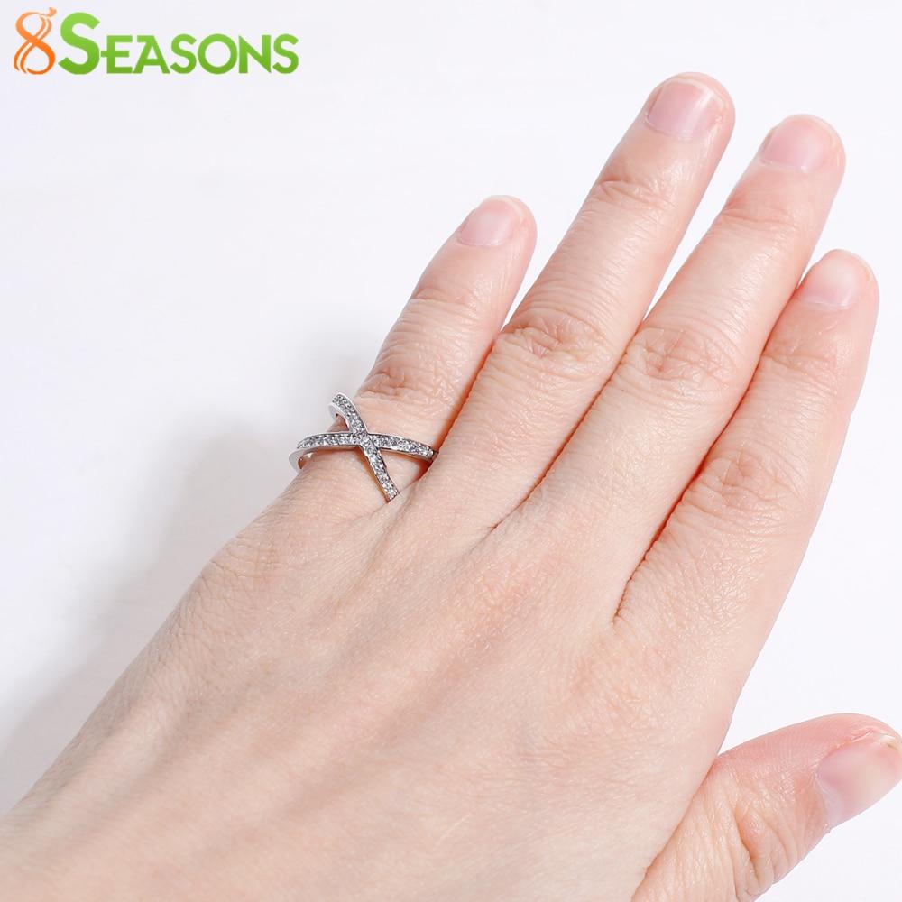 8SEASONS Zinc Alloy Criss Cross Ring Men Women X Open Rings Clear ...