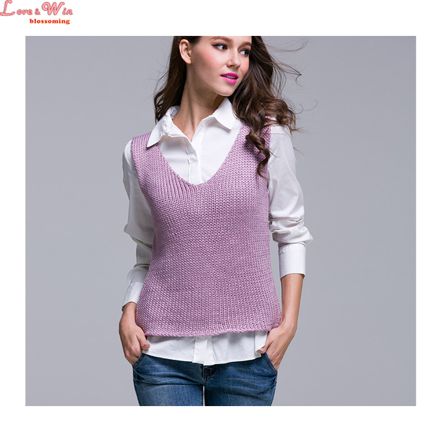 V neck sleeveless pullovers knitting sweater lady grace purple slim ...