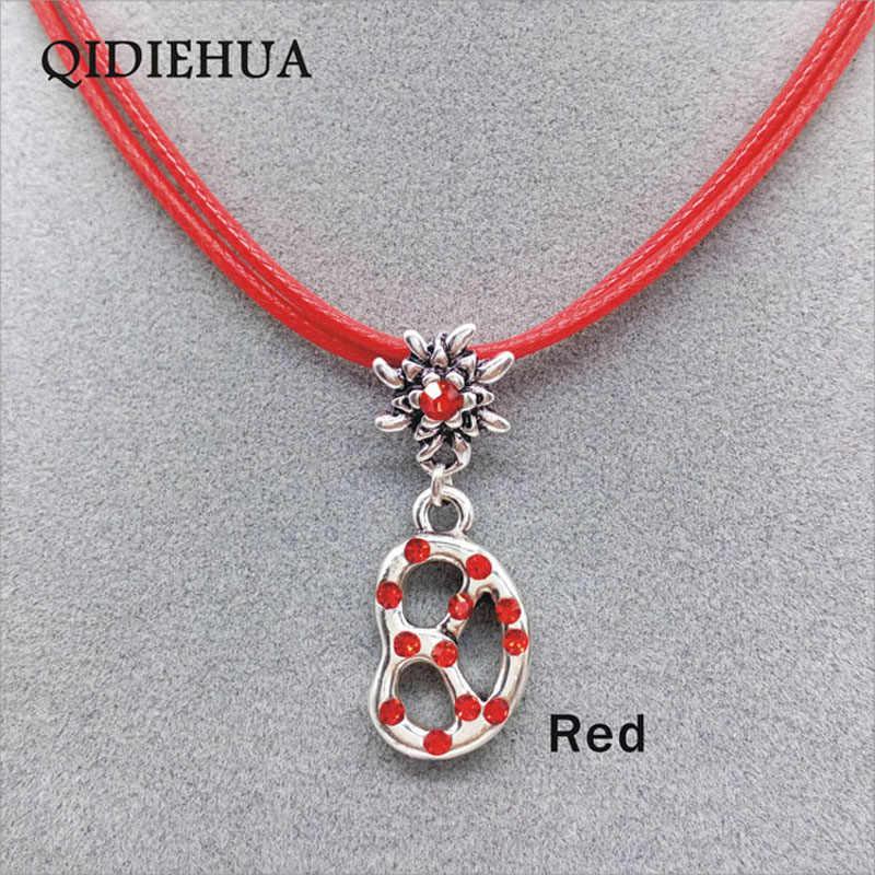 Простое винтажное ожерелье крендель Подвеска Серебряное Хрустальное цветочное ожерелье веревочная цепочка с подвеской баварское ожерелье Эдельвейс bijoux femme