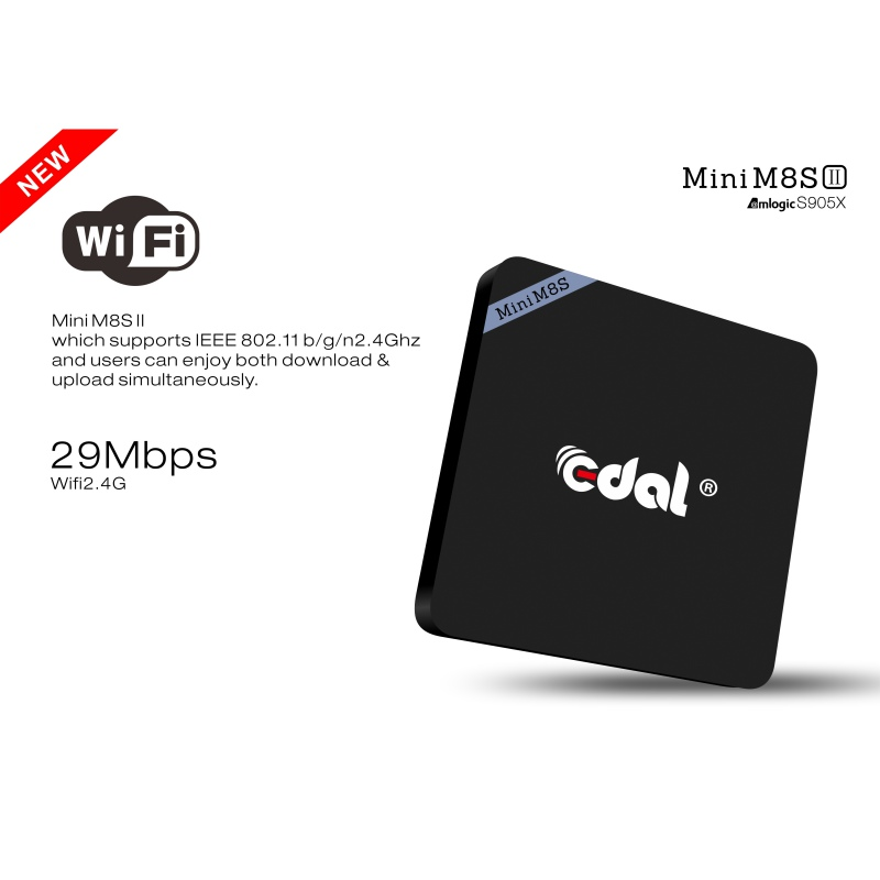 Newest Mini M8S II Smart Android 6.0 4K 2G / 8G Amlogic S905X Quad Core VP9 UHD DLNA Airplay Miracast TV Box медиаплеер defender smart transmitter x2 miracast dlna airplay 55302
