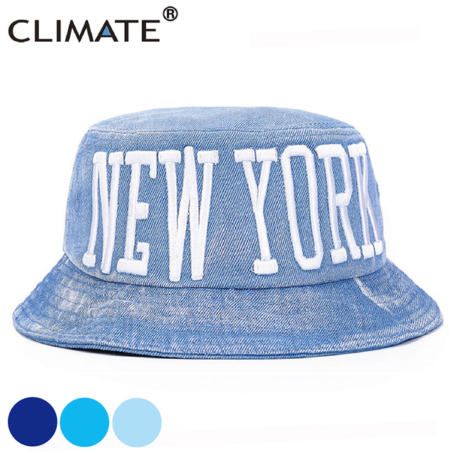 CLIMATE New York Denim Bucket Hats Men Women Denim Hat Hip Hop Cotton Denim  Hat Beach 22572468f9