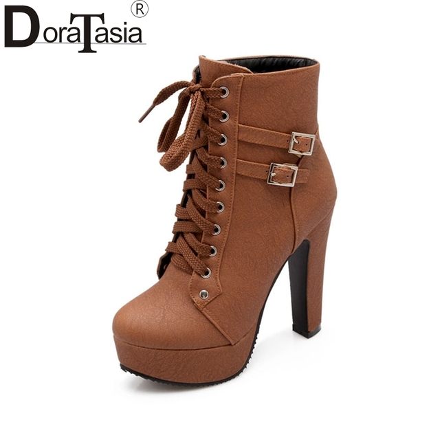 2016 Fashion Women Autumn Winter Ankle Boots Sexy High Heel Shoes Woman Double Buckle Lace Up Round Platform Motorcycle Boots