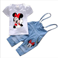 Kids Girls Clothes Summer 2017 new Cartoon Minnie Toddler Girl Clothing Sets Suspender Jeans Denim Pants tshirt Children T480