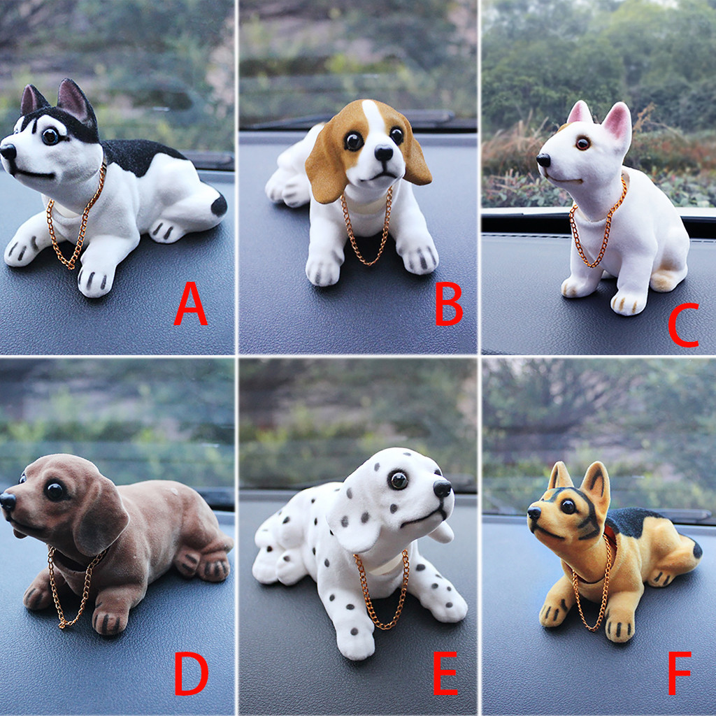 Cute Creative Car Doll Shaking Head Dog Ornaments Car Interior Decorations Auto Interior Dashboard Bobble Auto Accessories