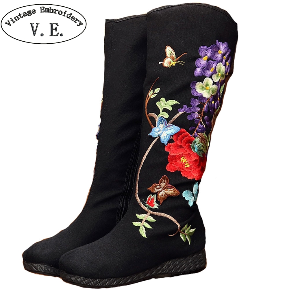Vintage Embroidery Boots National Floral Knee Boots Retro Butterfly Embroidered High Quality Winter Warm Zipper Shoes