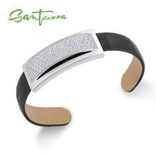 SANTUZZA, серебряный браслет, браслет для женщин и мужчин, 925 пробы, Серебряный регулируемый браслет, черный, натуральная кожа, панк, модное ювелирное изделие