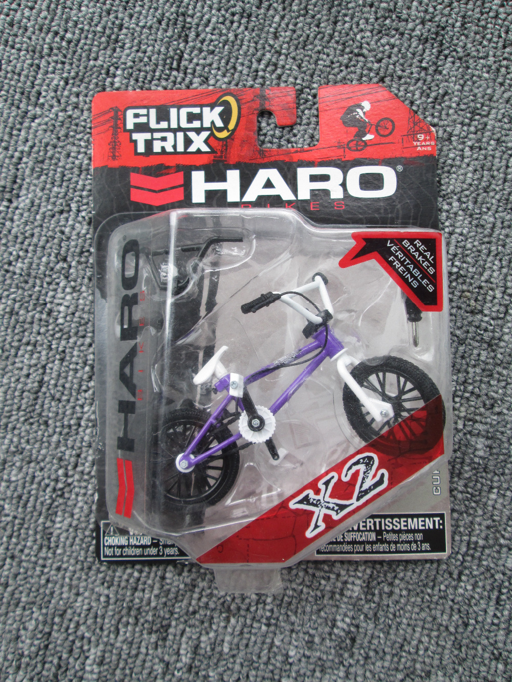 Hot! Purple&White Flick Trix Finger Bmx Bicicleta Real Brakes Professional Fun Gag Toys With Gadget