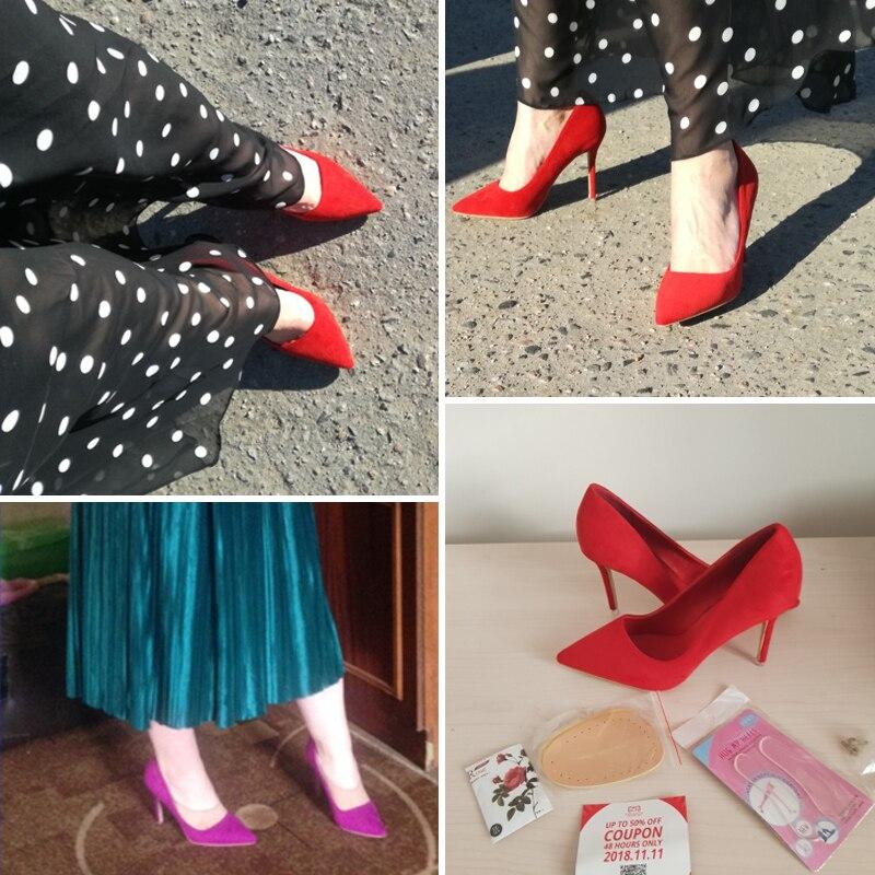 {D&Henlu}Women Shoe Purple Shoes Heel Woman Flock High Heels Women Pumps Ladies Office Shoes Pointed Toe Summer Heels 9