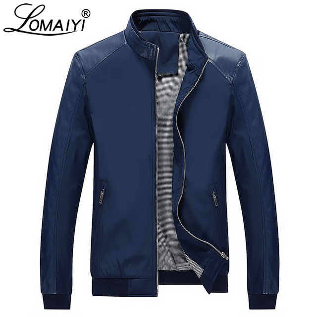 LOMAIYI Men's Casual Jacket Men Spring Autumn Slim Fit Business Coat Male 5XL Black Windbreaker PU Leather Bomber Jackets BM158