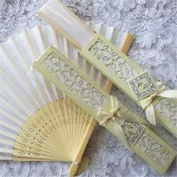 Free DHL White Silk Fans Wedding Favors,Elegant silk fan favors with Black&Ivory laser cut gift box favors 200PCS/LOT