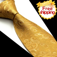 Wholesale Solid Paisley Yellow Gold Men's Tie Necktie Pocket Square 100% Silk Jacquard Woven Gorgeous Handmade Brand New