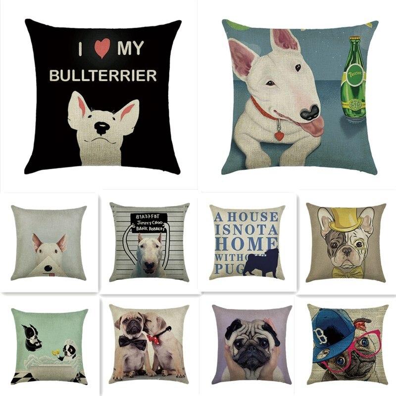 Bullterrier Mops Französisch Bulldog Leinen Baumwolle Kissenbezug Dekorative Kissenbezug Dekoration für Sofa Kissenbezug 40531-2