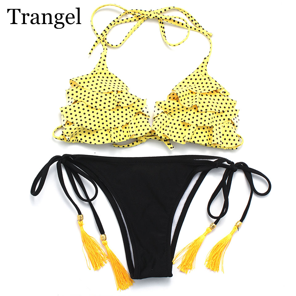 Trangel Bikinis Women Swimsuit sexy Swimwear 2017 Sexy halter Print Brazilian Bikini Set Beach wear Bathing Suits Swim Wear new women sexy brazilian bikinis brand beach swimsuit bright colors halter tube