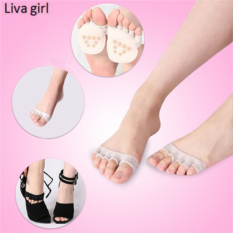 5pars/Lot Girls Half a palm socks Women Short Ankle Boat Low Cut Socks Woman toe high heels silicone anti-slip stealth socks ...