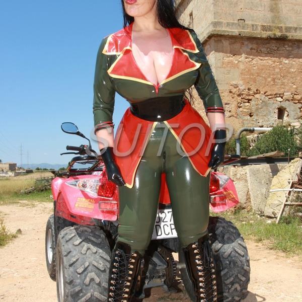 Military Frau Gummi Uniformen Latex Catsuit Codpiece Latex -4213