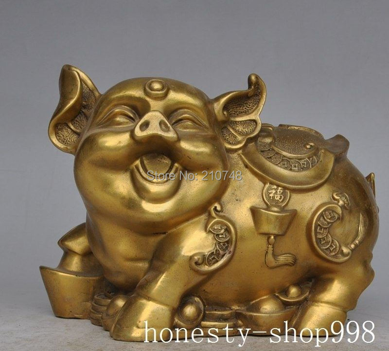 Home Decor China Chinese Fengshui Brass copper Wealth Zodiac Year Animal Pig Yuanbao StatueHome Decor China Chinese Fengshui Brass copper Wealth Zodiac Year Animal Pig Yuanbao Statue