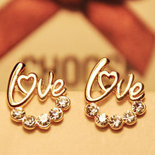 Fashion Accessories HOT New Arrival Wholesale Cute Gold LOVE Letter Australia Crystal Stud Earrings For Women(China)