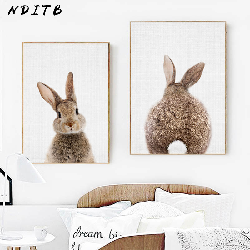 Bunny Rabbit Tail Wall Art Picture Woodland Animal Canvas Poster Nursery Print Minimalist Painting Nordic Kids Baby Room Decor