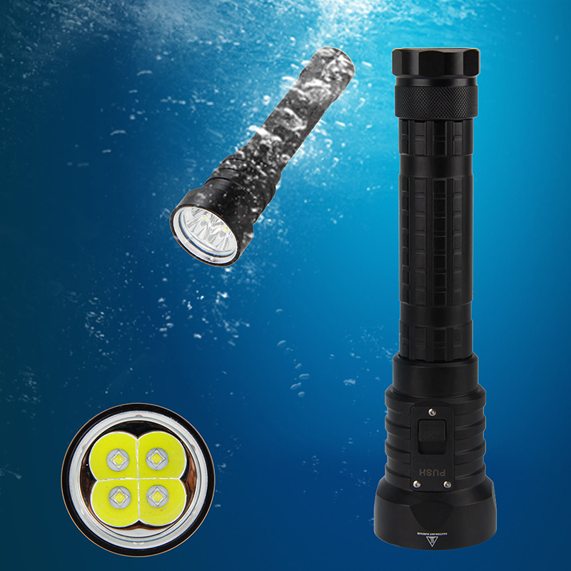 Waterproof 7000 Lumens 4xCree XM-L L2 LED Underwater 100M  Diving LED Flashlight Torch Lamp for 18650 / 26650 Battery