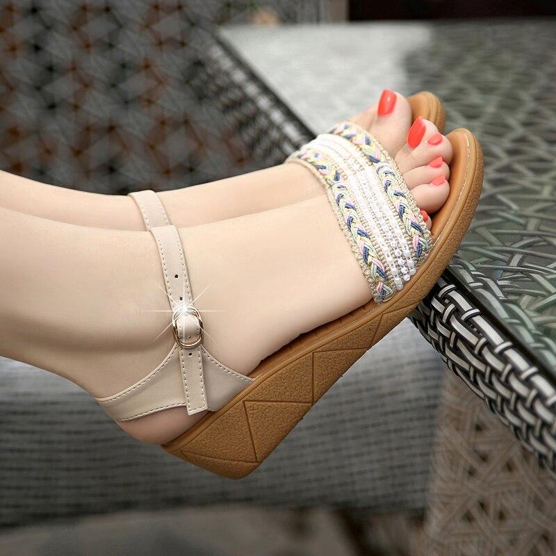 Grande De Chaussures En Confortable bleu Femmes Loisirs Beige Taille Voyage Coin Tendon Sandales Femme Cuir Avec Bas Perles CxoedB