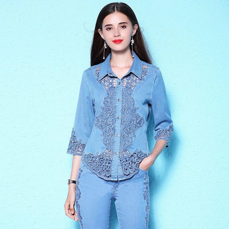 Mujeres 2018 verano nueva camisa de encaje más la camisa de mezclilla de las mujeres de manga corta blusa delgada NW18B2620